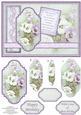 Vintage Lilac Pansies Card Topper & Pyramage