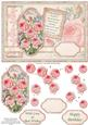Vintage Pink Roses Birthday Card Topper & Decoupage