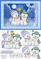 Merry Snowmen Christmas Card Topper & Decoupage