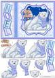 Polar Bear Mum & Baby Christmas Card Topper & Decoupage
