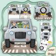 Going to Golf 3D Jeep Shape Card & Decoupage Kit