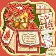 "Christmas Baubles & Poinsettia Pop Up Box Card 7.5"""