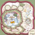 """Cheers Chilly Christmas Large Easel Card Kit 7.5"""""""