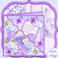 Square Scallop Pocket Purple Pansy Mini Kit & Decoupage