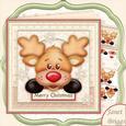 Peeping Rudolf 8x8 Christmas Decoupage Mini Kit