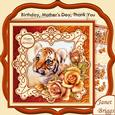 Tiger Cub & Roses 7.5 Decoupage Mini Kit All Occasions
