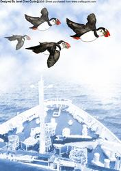 Puffins Flying Over Deck