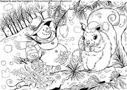 Squirrel and Snowmen