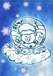 Blue Christmas-snowmen & Snowglobe