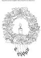 Poinsettia Wreath and Candle-digi Stamps