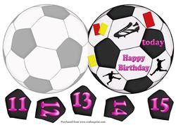 Football Shaped Card in Pink with Ages 11-15