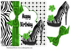 Zebra Birthday Shoes in Green