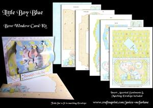 Little Boy Blue Bow Window Card Kit