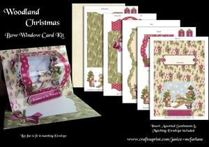 Woodland Christmas Bow Window Card Kit