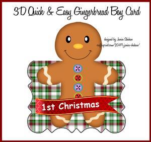 3D First Christmas Card Gingerbread Boy