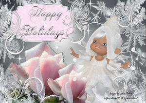 Birthday Christmas Pink Ice Roses Elf