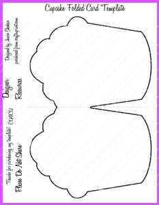 Cupcake Folded Card Template Png