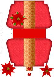 Red Handbag Shaped Card with Poinsettia