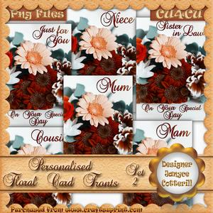 6 Personalised Floral Card Fronts - Autumnal Tones - Set 2