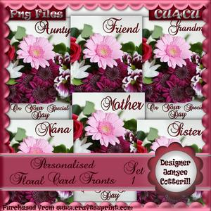 6 Personalised Floral Card Fronts - Pink Tones - Set 1