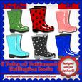 6 Pairs of Patterned Wellington Boots Cu