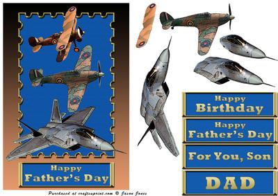 Old and New Fighter Plane Card Front