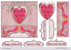 Heart and Love Birds in Pinks