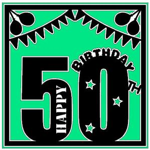 50th Birthday Card Topper Studio