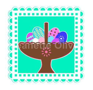 Easter Basket with Eggs Topper & Aperture Card Studio