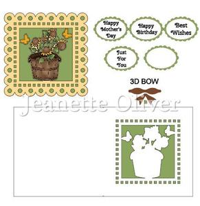 Potted Sunflowers Topper & Aperture Card Studio Cutting File