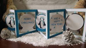 Penguin Snowglobe Accordion Card Studio, SVG Fcm MTC
