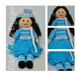 Doll Knitting Pattern - Pansy - a Winter Doll