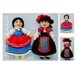Doll Knitting Patterns - Folk Dolls - Switzerland & Bulgaria