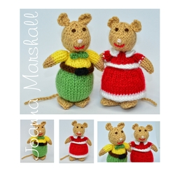 Doll Knitting Pattern - Knitted Mice - Mr and Mrs Peppermint