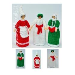 Christmas Doll Knitting Pattern - Christmas Peg Dolls