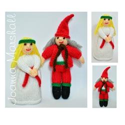 Christmas Doll Knitting Pattern - St. Lucia & Julenissen Elf