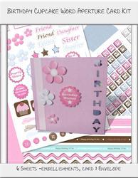 Birthday Cupcake Word Aperture Card Kit