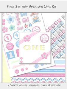 First Birthday Word Aperture Card Kit