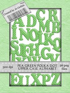 Pea Green Polka Dot Alphabet