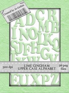 Green Gingham Upper Case Alphabet