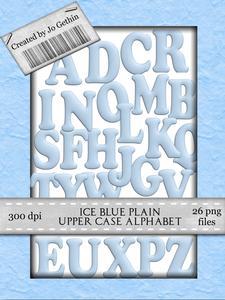 Ice Blue Plain Upper Case Alphabet