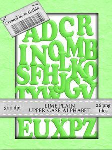 Lime Green Plain Upper Case Alphabet