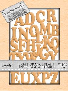 Light Orange Plain Upper Case Alphabet