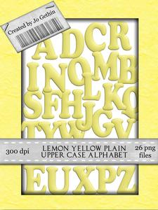 Lemon Yellow Plain Upper Case Alphabet