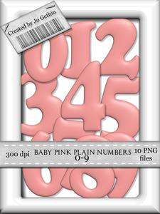 Baby Pink Plain Numbers 0-9
