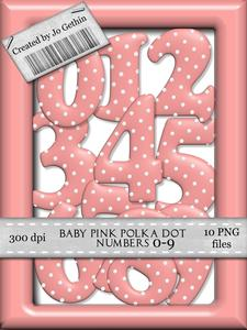 Baby Pink Polka Dot Numbers Birthday Girl Commercial Use