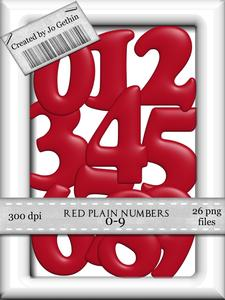 Red Plain Numbers 0-9