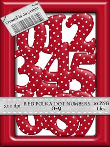Red Polka Dot Numbers 0-9