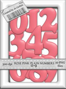 Rose Pink Plain Numbers 0-9
