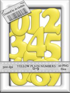 Yellow Plain Numbers 0-9